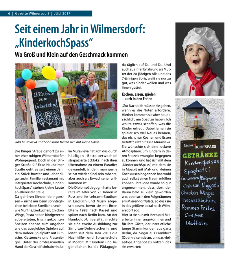 Gazette Wilmersdorf Kinder KOCHSPASS