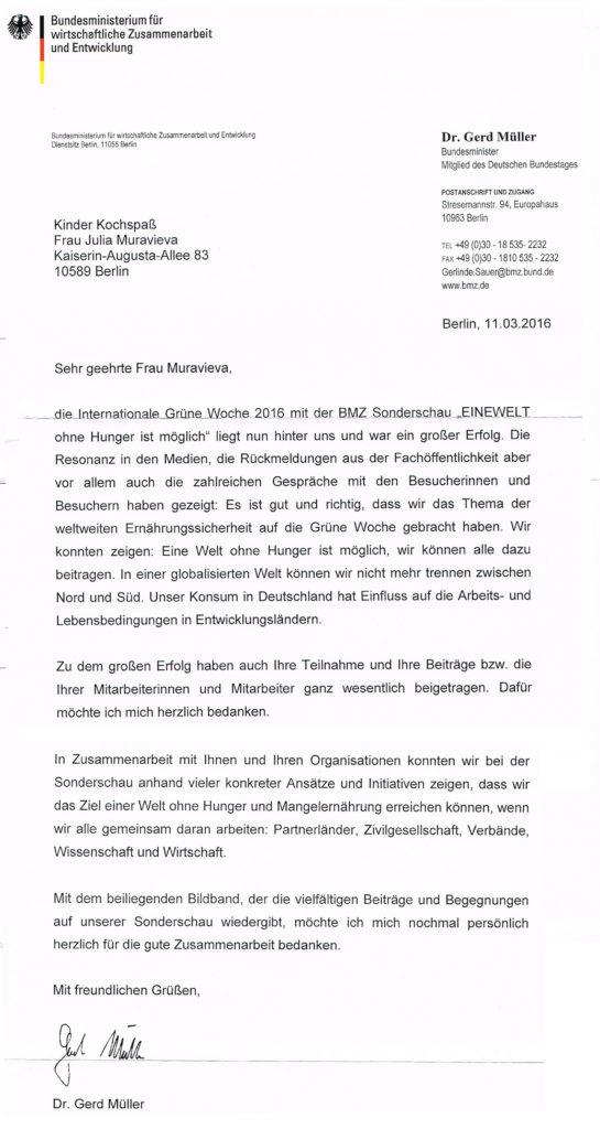Brief vom Bundesminister